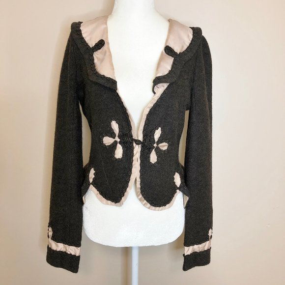 Anthropologie Jackets & Blazers - Guinevere Brown & Pink Wool Fitted Jacket Sz. S